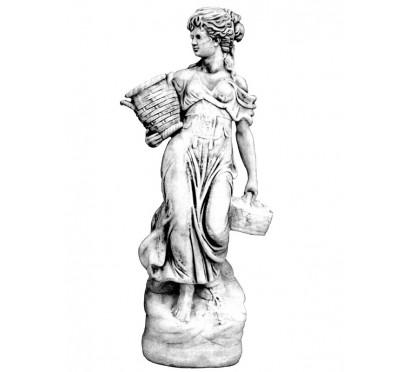 Бетонная скульптура Женщина с корзинкой арт 253
