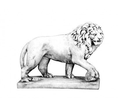 Бетонная скульптура Лев с шаром арт. 328