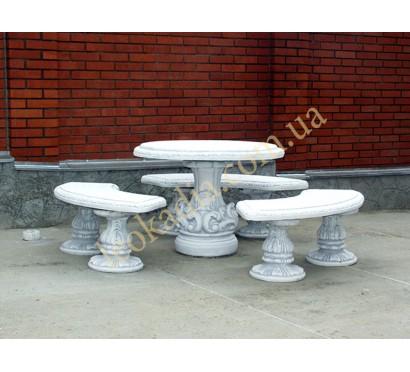 Стол арт. 255 с лавочками полукруглыми арт. 261