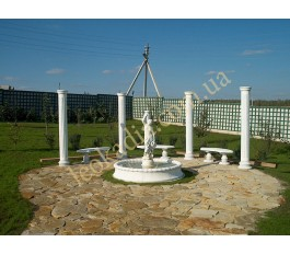 Комплексное благоустройство- фонтан, колоннада, скамейки