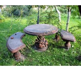 Садовый комплект - стол со скамейками полукруглыми