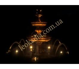 Ночная картина работы фонтана с бассейном, доп.форсунками и подсветкой