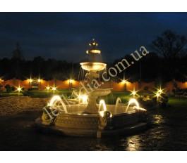 Подводная подсветка, форсунки в фонтане арт. 354 с бассейном арт. 032