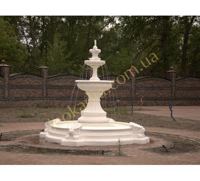 """Фонтан """"Леокадия"""" малый арт. 354а с бассейном арт.031 в белом цвете"""