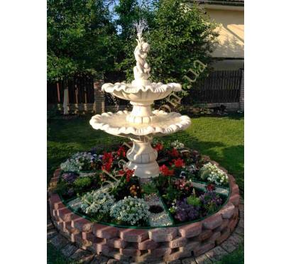 """Двухъярусный фонтан (778) """"Мальчик с рыбкой"""" в цвете капучино"""